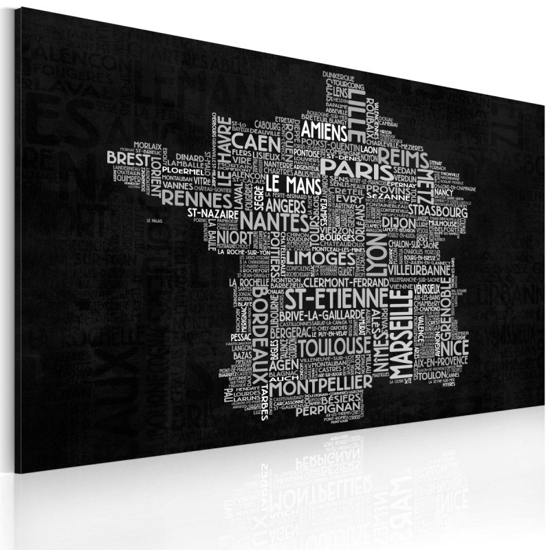 Obraz  Text map of France on the black background