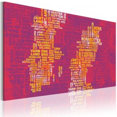 Obraz  Mapa Szwecji (różowe tło)