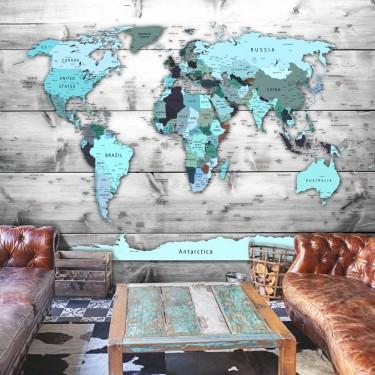 Fototapeta  Mapa świata Błękitne kontynenty
