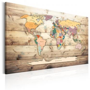 Obraz  Mapa świata Kolorowe kontynenty