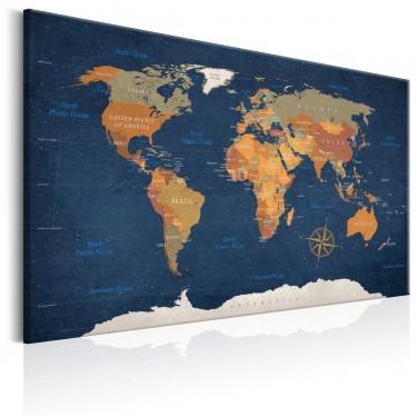 Obraz  Mapa świata Atramentowe oceany