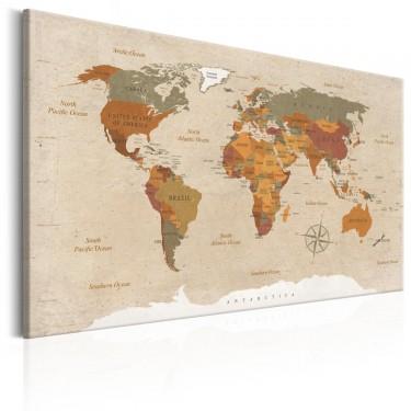 Obraz  Mapa świata Beżowy szyk