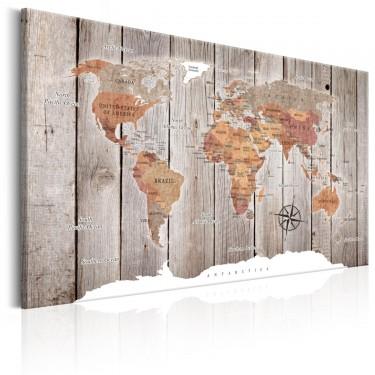 Obraz  Mapa świata Drewniane historie