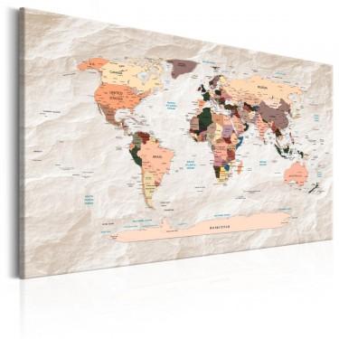 Obraz  Mapa świata Kamienne oceany