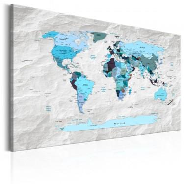 Obraz  Mapa świata Błękitne pielgrzymki