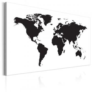 Obraz  Mapa świata Czarnobiała elegancja