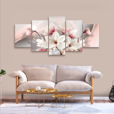 Obraz  Magnolia w rozkwicie (5częściowy) szeroki
