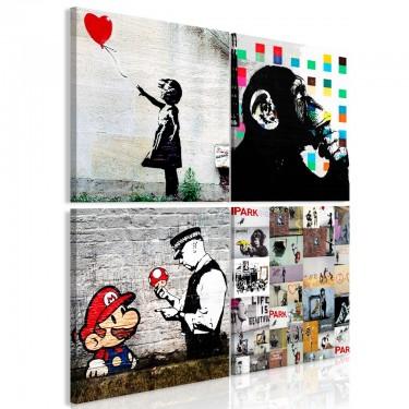 Obraz  Kolaż Banksy (4częściowy)