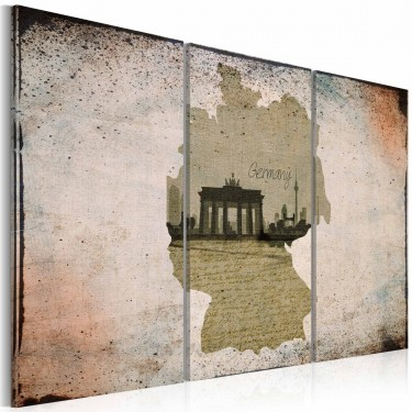 Obraz  map Germany, Brandenburg Gate  triptych