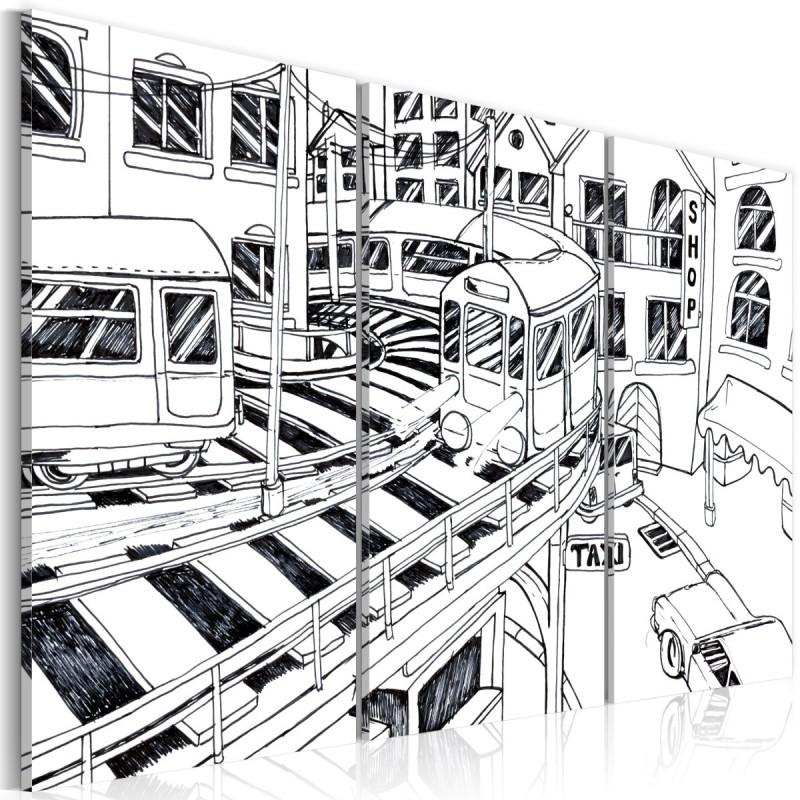 Obraz  Futurystyczna stacja kolejowa  black and white