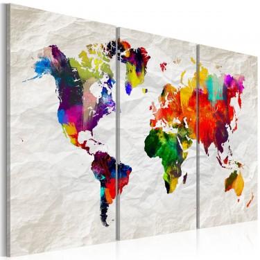 Obraz  Mapa świata Tęczowe szaleństwo II