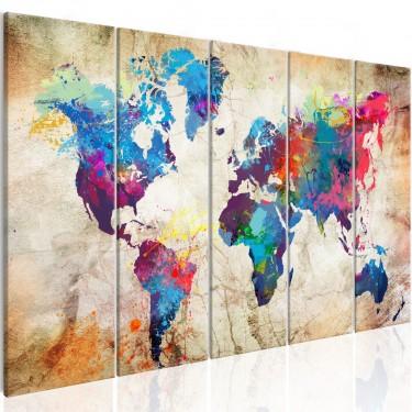 Obraz  Mapa świata Kolorowe kleksy