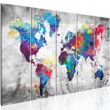 Obraz  Mapa świata rozlana farba