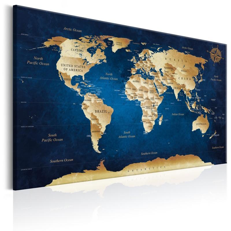 Obraz  Mapa świata Granatowa głębia