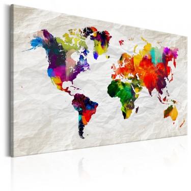 Obraz  Mapa świata Tęczowe szaleństwo