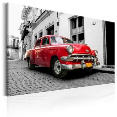 Obraz  Klasyczne kubańskie auto (Czerwony)