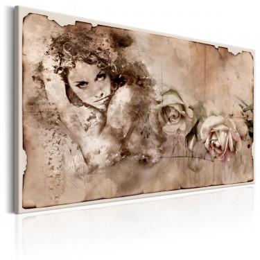 Obraz  Styl retro Kobieta i róże
