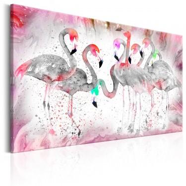 Obraz  Rodzina flamingów