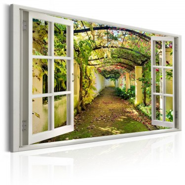 Obraz  Okno widok na pergolę