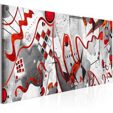 Obraz  Czerwone wstęgi (1częściowy) szeroki