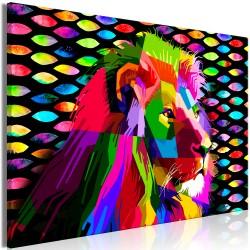 Obraz  Tęczowy lew (1częściowy) szeroki