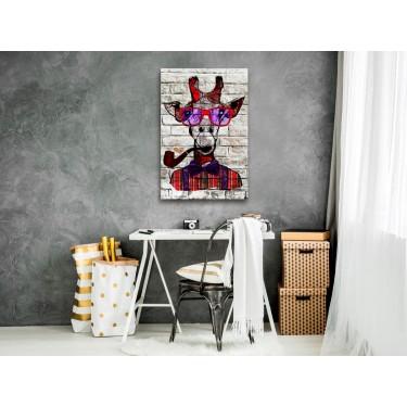 Obraz  Hipsterska żyrafa (1częściowy) pionowy