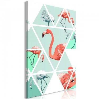 Obraz  Geometryczne flamingi (1częściowy) pionowy