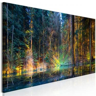 Obraz  Staw w lesie (1częściowy) wąski