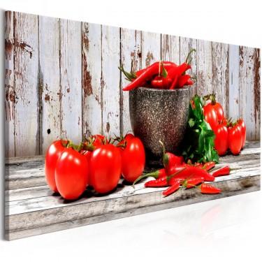 Obraz  Czerwone warzywa (1częściowy) drewno wąski