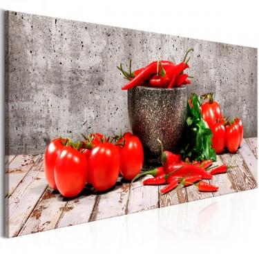 Obraz  Czerwone warzywa (1częściowy) beton wąski