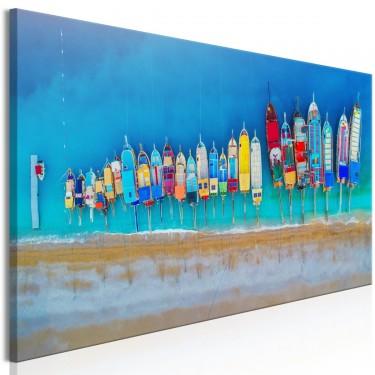 Obraz  Kolorowe łódki (1częściowy) wąski
