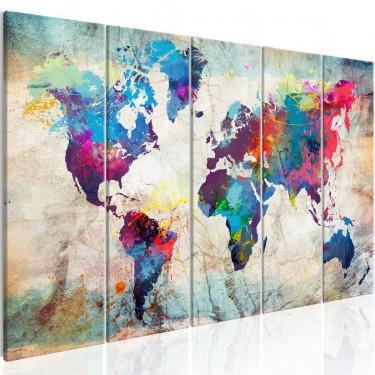Obraz  Mapa świata Pęknięta ściana