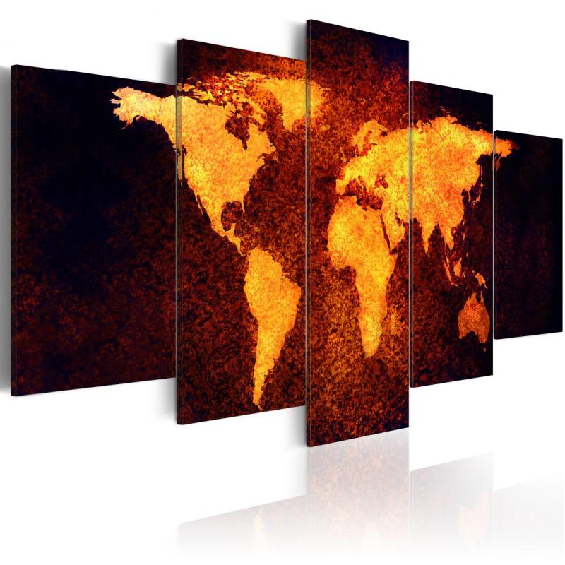 Obraz  Mapa świata  Gorąca lawa