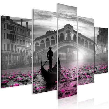 Obraz  Magiczna Wenecja (5częściowy) szeroki szary