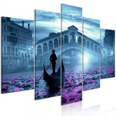 Obraz  Magiczna Wenecja (5częściowy) szeroki niebieski