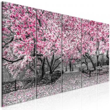 Obraz  Park magnolii (5częściowy) wąski różowy