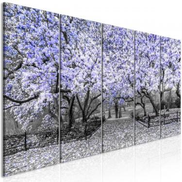 Obraz  Park magnolii (5częściowy) wąski fioletowy