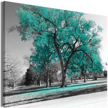 Obraz  Jesień w parku (1częściowy) szeroki turkusowy