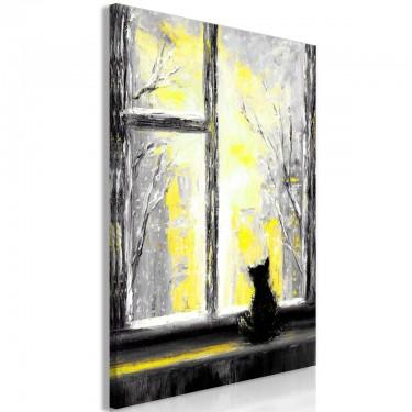Obraz  Tęskniący kotek (1częściowy) pionowy żółty