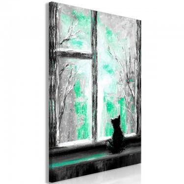 Obraz  Tęskniący kotek (1częściowy) pionowy zielony