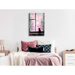 Obraz  Tęskniący kotek (1częściowy) pionowy różowy