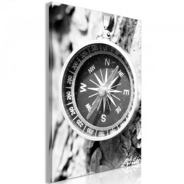 Obraz  Czarnobiały kompas (1częściowy) pionowy