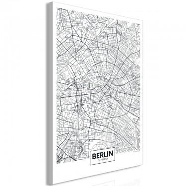 Obraz  Mapa Berlina (1częściowy) pionowy