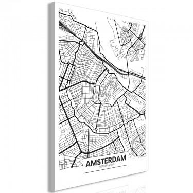Obraz  Mapa Amsterdamu (1częściowy) pionowy