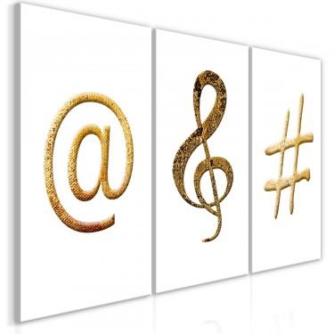 Obraz  Złote znaki (3częściowy)