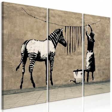 Obraz  Banksy Pranie zebry na betonie (3częściowy)