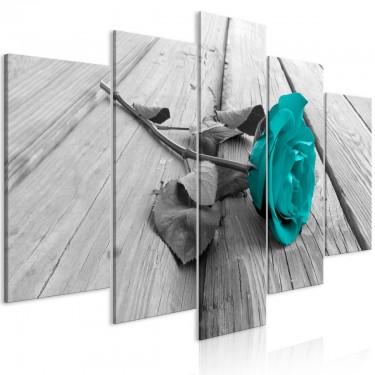 Obraz  Róża na drewnie (5częściowy) szeroki turkusowy