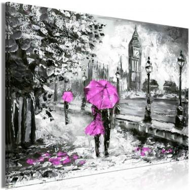 Obraz  Spacer w Londynie (1częściowy) szeroki różowy