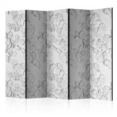 Parawan 5częściowy  Biały ornament róże II [Room Dividers]