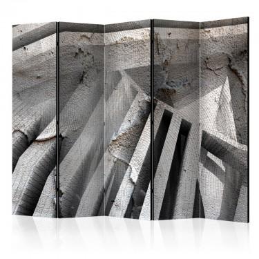 Parawan 5częściowy  Beton 3D II [Room Dividers]